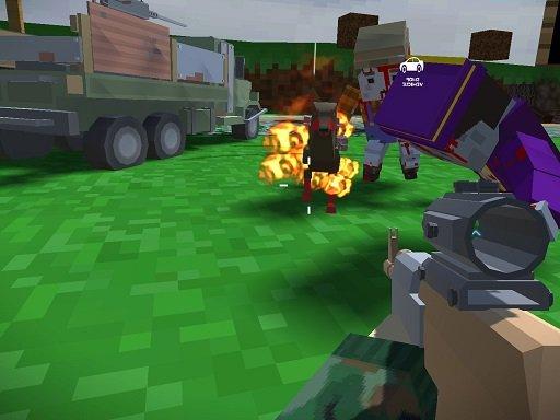 بازی آنلاین زامبی Blocky Zombie And Vehicle Shooting